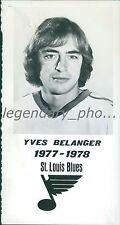 1977 Yves Belanger St. Louis Blues Portrait Original News Service Photo