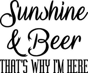 Sunshine & Beer thats why im here vinyl decal/sticker saying funny redneck party