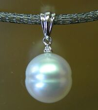 12.9mm!! SOUTH SEA PEARL UNTREATED+DIAMOND +18ct WG PENDANT +APPRAISAL AVAILABLE
