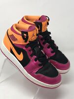 Nike Air Jordan 1 Retro Mid GS Size 3.5Y Bright Citrus Pink Black 555112-026