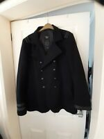 River Island L' Art Black Double Breasted Reefer Military Coat Wool Mix Large