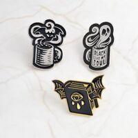 3 Pcs/Set Enamel Bat Devil Teardrop Brooch Pin Collar Lapel Women Halloween Gift