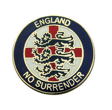 "ENGLAND BADGE ""NO SURRENDER"" (blue) - England Flag, St George's Day, UK Seller"