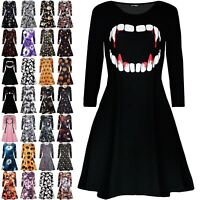 Womens Vampire Horror Blood Halloween Costume Ladies Smock Flared Swing Dress