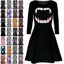 Womens Vampire Horror Blood Halloween Costume Ladies Smock Flared Swing Dress