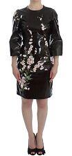 NWT DOLCE & GABBANA Black Floral Runway 3/4 Sleeve Sheath Dress IT42/US8/M