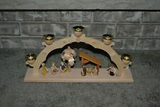 NEW Straco Made in Germany Christmas Nativity Wood Centerpiece Candle Holder