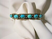 OLD PAWN RARE 1966-68 RANDALL SAHMIE HOPI STERLING & TURQUOISE CUFF BRACELET