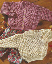 "Aran Cardigan & Sweater Knitting Pattern Baby Girls Boys 18-28"" 596"