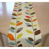 "Small 3ft Table Runner 36"" Orange Red Brown Blue Mustard Grey Stem Leaves 90cm"