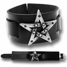 Alchemy Gothic Pentagration Pentagram Star Strap Bracelet Pewter Metal-wear