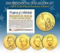 2010 U.S. MINT 24K GOLD PRESIDENTIAL $1 DOLLAR COINS * COMPLETE SET OF 4 *