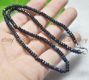 2x4mm Sapphire Black Blue Faceted Roundel Gems Beads Necklace Silver Clasp AAA