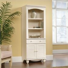 Antique White 3 Shelf Library Bookcase Cabinet Furniture Home Living Display