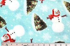 "BTY*CHRISTMAS SNOWMEN TREES SNOWFLAKES SNOWBALLS ON BLUE FLEECE FABRIC 60X36"""