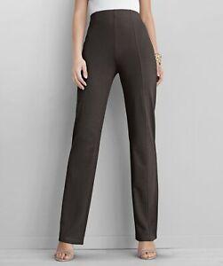 Ponte Straight Leg Trousers Size UK 16 - Chocolate Brown L27 Damart NEW