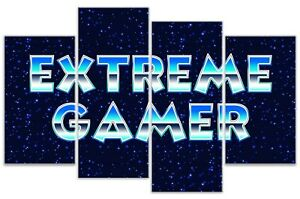 Extreme Gamer - Computer Game Gaming Quote 4 Panel Canvas Wall Art Print Picture