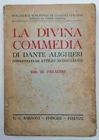 Libro La Divina Commedia Vol. 3 Paradiso Dante Alighieri 1953 Sansoni 21