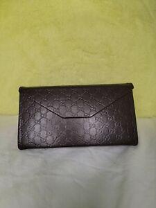 Gucci GG Guccissima Sunglasses Case Holder Hard Shell Button Closure- Large