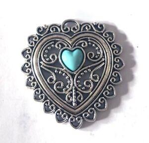 50x39mm Silver Pewter Blue Turquoise Glass Enamel Filigree Heart Pendant