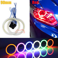 2pcs 90mm Red Car Motorcycle Headlight Cob Angel Eyes Halo Ring Decorative Light