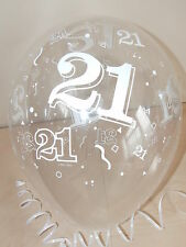Clear Printed ☆ 21st BIRTHDAY BALLOONS ☆ Helium Quality ☆ Party Decorations x 10