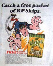 1985 KP 'Sweetcorn Skips' Crisp Print Advert (Free Bag Coupon): Vintage Comic Ad