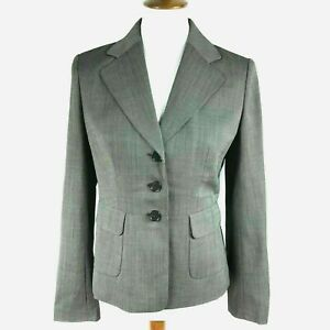 Ann Taylor Blazer Women Size 4 Gray Wool Houndstooth 3 Button Lined Career NWOT