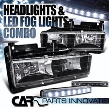 88-98 C10 C/K Silverado Sierra 94-99 Suburban Black Headlight+LED Fog Light
