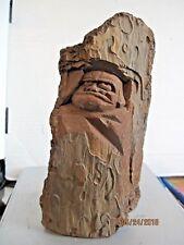 Vintage tree spirit tree bark carving folk art b135