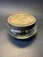 Vintage Early 1900s Glass Dresser Powder Dish Container with Girls Picnic Lid