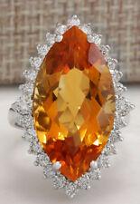 15.34 Carat Natural Citrine 14K White Gold Diamond Ring