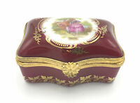 Vtg Limoges Castel Courting Couple Cranberry Red 22K Gold Curved Trinket Box