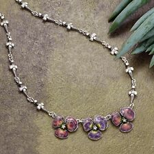 NEW SWEET ROMANCE ART DECO ENAMEL PANSY NECKLACE ~~MADE IN USA~~