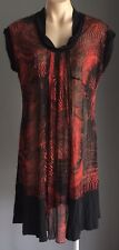 Rare Brick & Black FAYE BROWNE Cowl Neck Mesh Net Tunic Dress Size 12