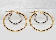 9ct Yellow & White Gold Fancy Double Hoop Creole Hoop Ladies Earrings