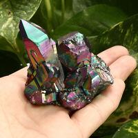 Natural Crystal Aura Quartz Amethyst Rainbow Titanium Specimen Cluster Stone US