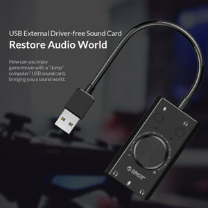 ORICO USB Sound Card For Microphone Earphone 2 in1 With 3 Port Output Volume
