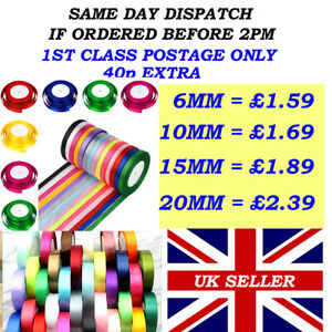 FULL 23 MTR ROLL OF SATIN RIBBON 6,10,15,20mm ALSO DOUBLE SIDED SATIN BUNDLE'S