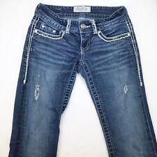 DAYTRIP Aquarius Flare Embellished Flap Pocket Jeans Bling Womens 24R