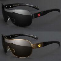 POLARIZED Retro Shield LARGE Men Fashion Metal Aviator Designer Sunglasses Black