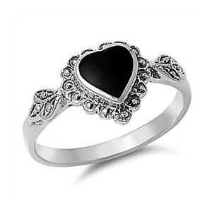 Fine Women 10mm 925 Silver Simulated Black Onyx Vintage Heart Promise Ring Band