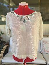 Vintage Sho max Beaded 100% Silk White Beige Womens Shirt Silver Shiny Med