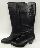"Born Crown Black Leather Tall Knee High Boots Womens Sz 8.5 w/ 2.5"" Heel"