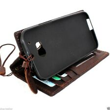 genuine leather Case for HTC ONE M8 book wallet handmade cover slim brown retro