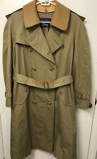 Vtg Burberry's Mens Wool Lined Khaki Nova Check Trench Coat Jacket 36 SHORT