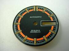 Vintage Watch Dial Automatic 25 Rubis Incabloc Black & Neon Orange 26.53mm NOS