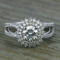2.50Ct Round Cut Moissanite Halo Wedding Engagement Ring 14k White Gold Finish