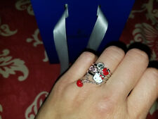 EUC Swarovski x Hello Kitty 3pc Stacking Crystal Dangling Apple Rings EU55 US7