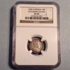 - Canada 1909 10 Ten Cents Edward VII NGC VF 35 -  Victorian Leaves